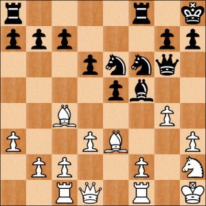 Mit 18... Le4+!! 19. f3 Ld5 brachte Carsten seinen Läufer in Sicherheit und den weißen König in eine Bruchbude.