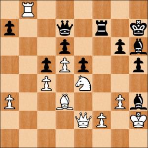 Diese Stellung gab es in meiner Partie nicht, leider nur in einer komplett unerzwungenen Variante mit einem komplett unerzwungen Matt, das ich jedoch allen zeigen will: 30. Dxh5 gxh5? 31. Sf6++!! Kg7 32. Sh5 matt.